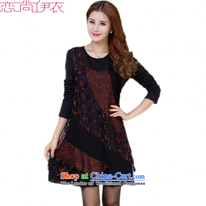 Thick employed to increase women's code thick mm long-sleeved winter clothing plus lint-free thick skirt on the film forming the long skirt with scarves knitted dress red5XL long-sleevedapproximately 185-210 catty