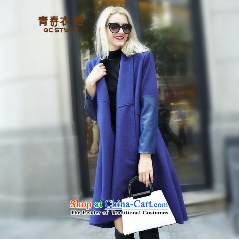 Youth Yi So 2015 autumn and winter new women's Western Wind Ms. long thin wool gross Sau San video? Wind Jacket female blue