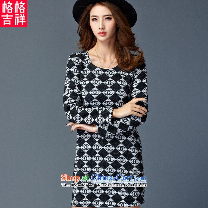 The interpolator auspicious xl women 2015 Fall_Winter Collections new thick mm video plus thin lint-free long-sleeved forming the thick latticed dresses W2086 3XL black