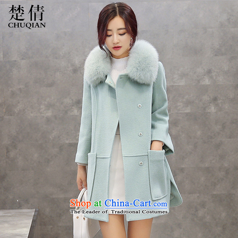 Chu Chien聽2015 winter clothing new Korean girl in gross? jacket long Sau San Nagymaros gross for a wool coat light green聽L