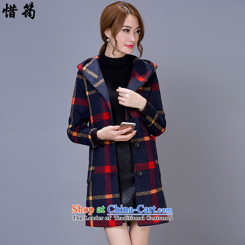 Teresa Mo�15 autumn and winter deplores the new wind jacket compartments in gross? long cap a wool coat X0714 female red yellow燣