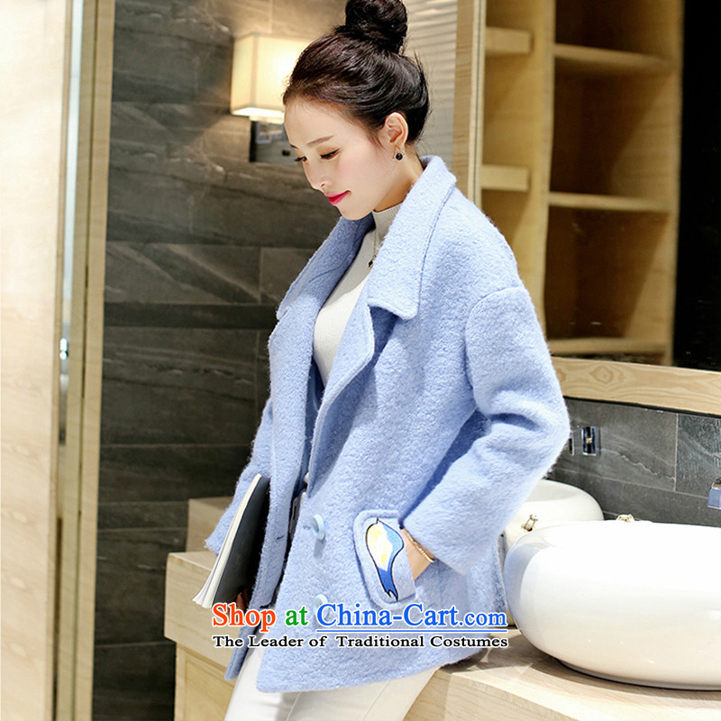 Wooden Geun-hye-thick lapel gross 300 female blue jacket?聽S_155_80A_