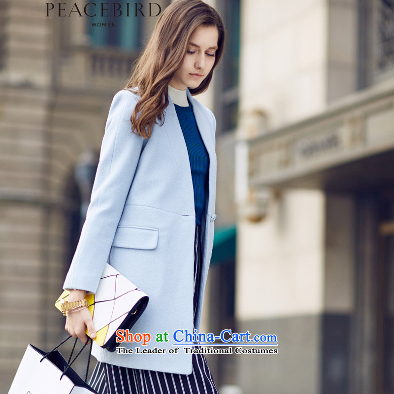 The elections on 26 November new products as women peacebird 2015 winter clothing new products without collars coats A4AA54551 light blueS