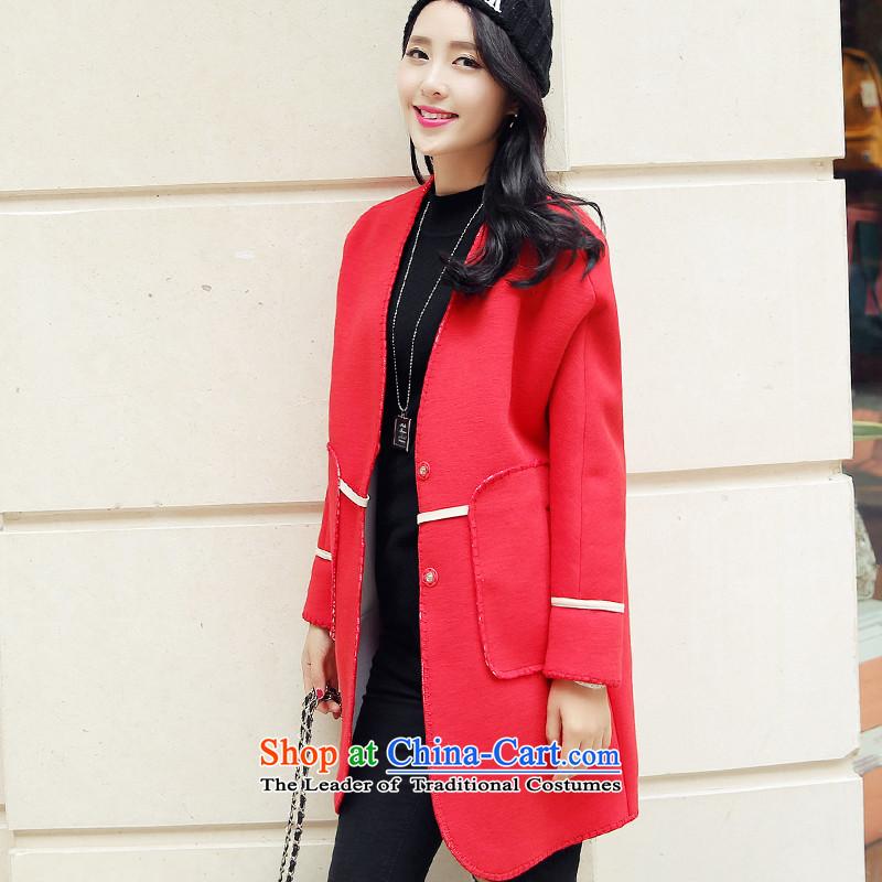 Wooden Geun-hye autumn and winter version korea long hair? V-Neck Jacket coat female redM_160_84a_ 295