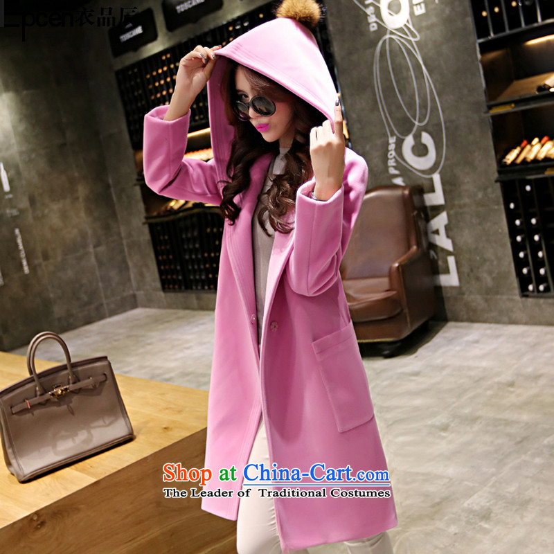 Yi Jin _epcen No. 2015_ autumn and winter female new products are decorated gross ball a wool coat girl in long hair NRJ8571 jacket pink L2238? L