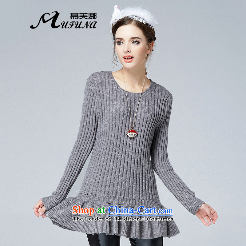 Improving access of 2015 winter clothing new products to increase women's code thick mm stylish Sau San video thin omelet before long-sleeved sweater?SN2892?Gray?2XL