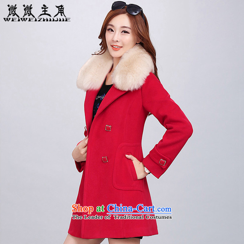 The caddy by 2015 autumn and winter new protagonists for women Korean jacket Sau San double-coats women 2018 gross? red L
