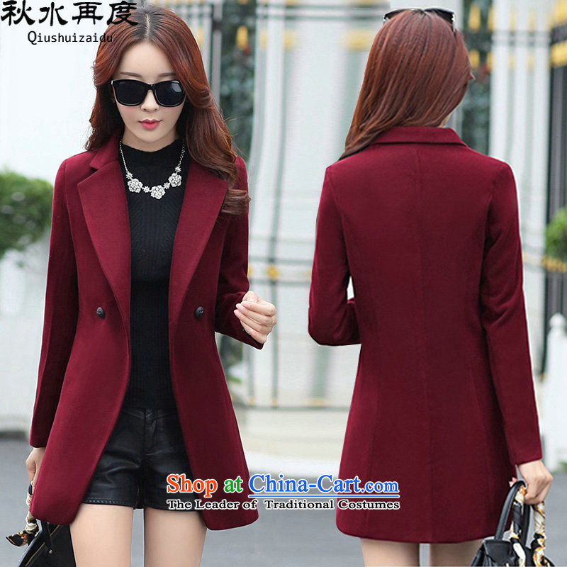 Once again we get gross coats female Korean version of a jacket Sau San video thin wine red燤