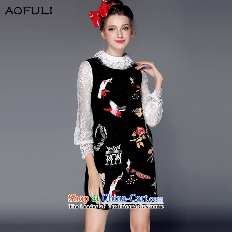 To allow the European and American Olympic AOFULI high-end for larger women 2015 autumn and winter so gross dresses thick embroidered sleeveless jacket skirt temperament Black XL