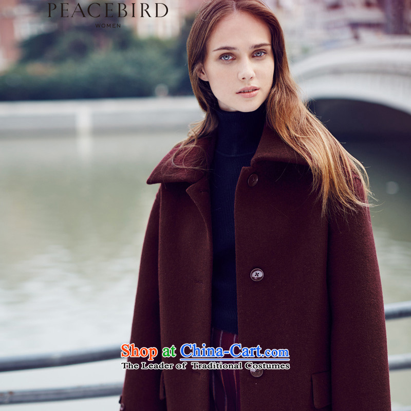 The elections on 26 November new products as women peacebird 2015 winter clothing new products long coats A4AA54537 wine red燤