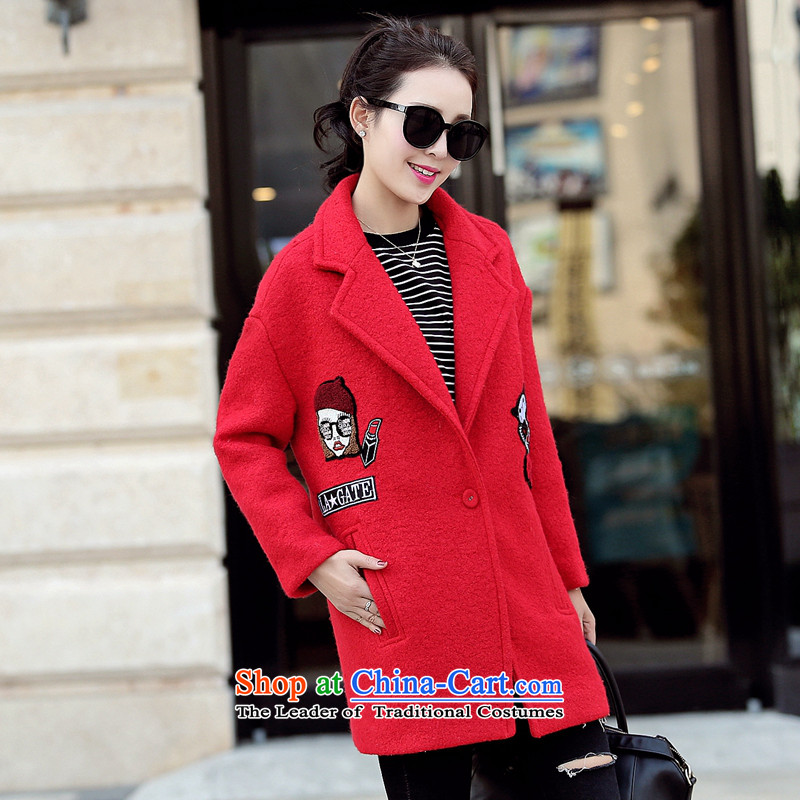 Wood in long-sleeved Geun-hye long_? Sub Female 150 red燤_160_84a_ Jacket