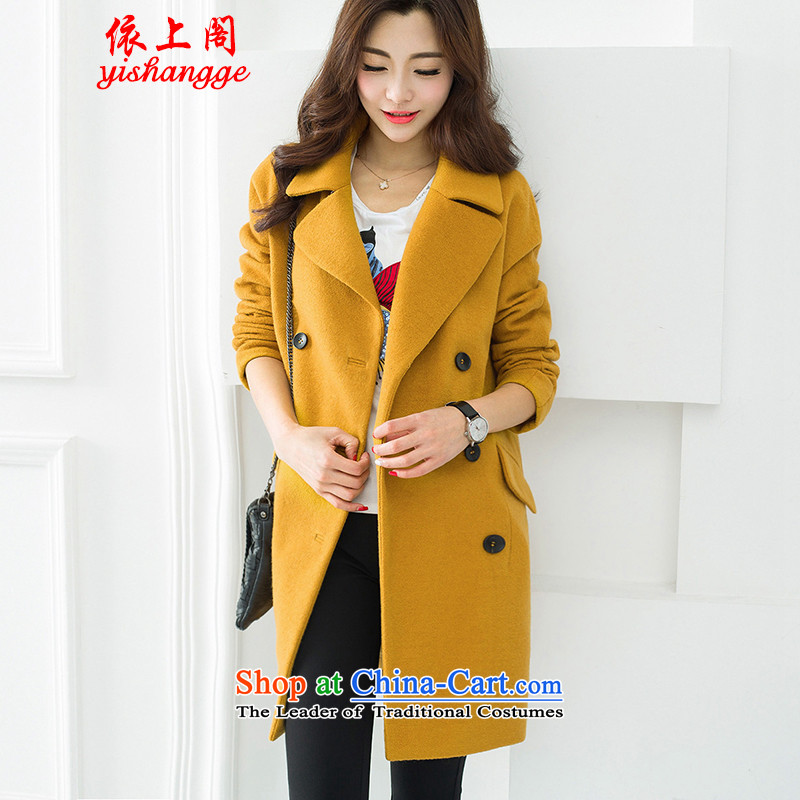 In accordance with the new 2015 Cabinet on gross? jacket for autumn and winter in Korean long a wool coat female winter clothing YSG107 Sau San YellowM