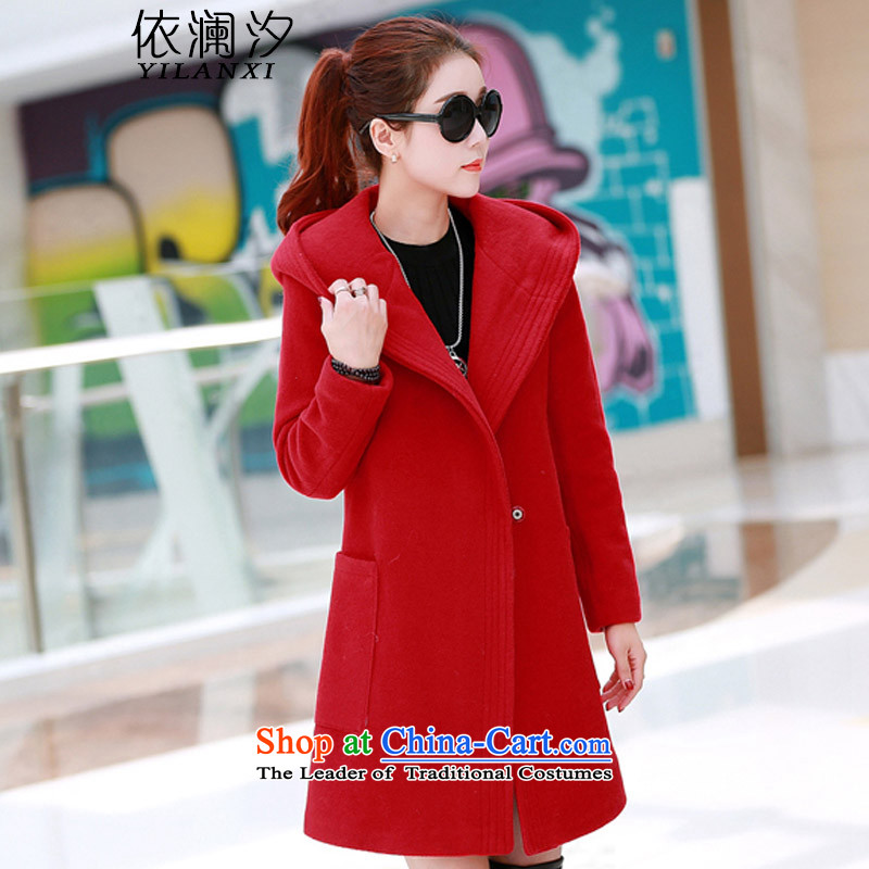 In accordance with the World Hsichih 2015 Fall_Winter Collections new gross women in the jacket? long cap reinforcement a wool coat 8328 large red燬