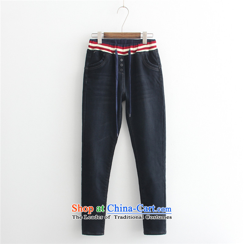 2015 thick winter sister large foreign trade with Europe and the Code jeans pants castor extra ladies pants and thick dark blue velvet 44