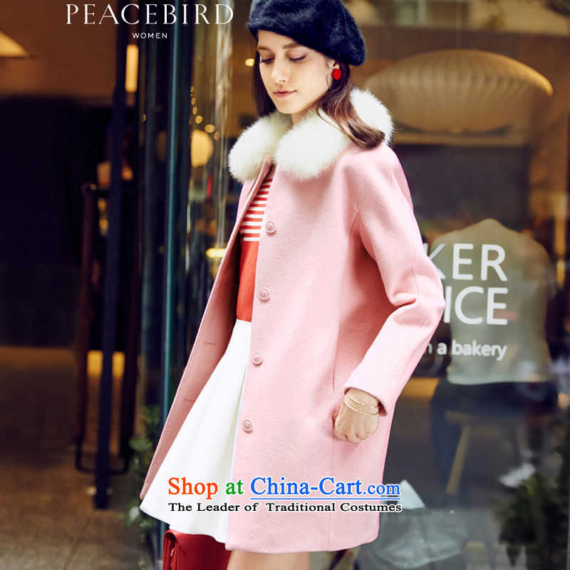The elections on 26 November new products as women peacebird 2015 new products for winter coats A4AA54524 round-neck collar pink?M