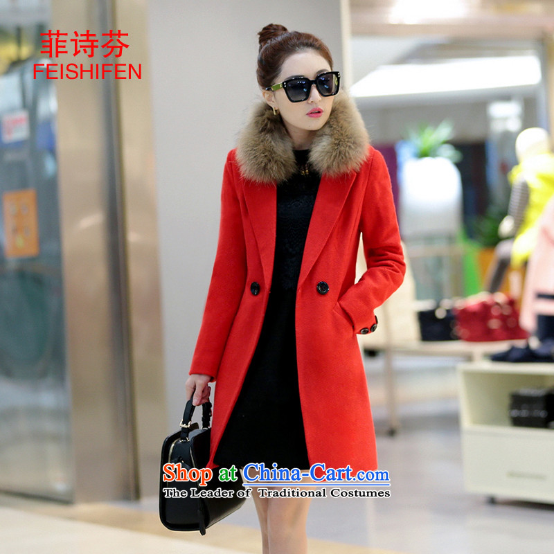 The Philippines poetry fun? In gross coats of Korean Sau San video thin thick large long-sleeved double-gross flows of winter coats? female RED M