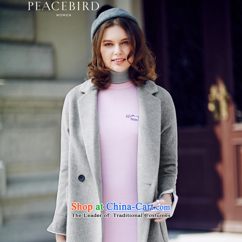 The elections on 26 November new products as women peacebird 2015 winter clothing new products even turning cuff A4AA54527 coats gray M?