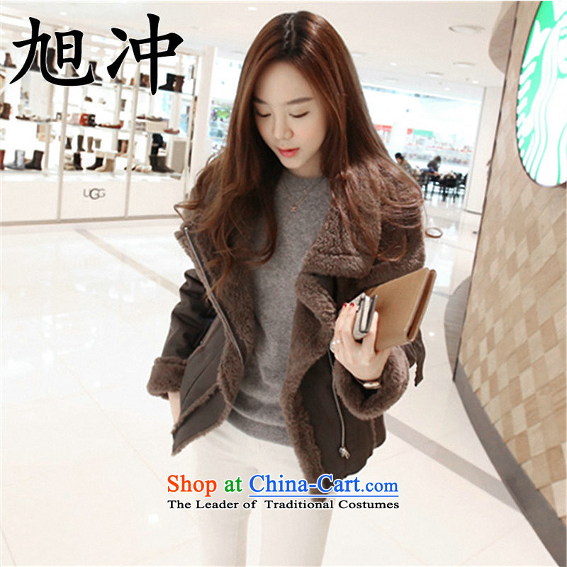 燤s. Chong Wook 2015 winter clothes boutique quality female lapel thick hair? lamb fur coats Korean brown velvet燤