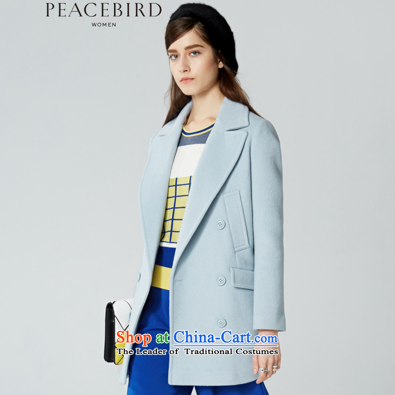 On 3 December elections as soon as possible new peacebird women 2015 winter clothing new products, double-coats A4AA54529 light blue燤