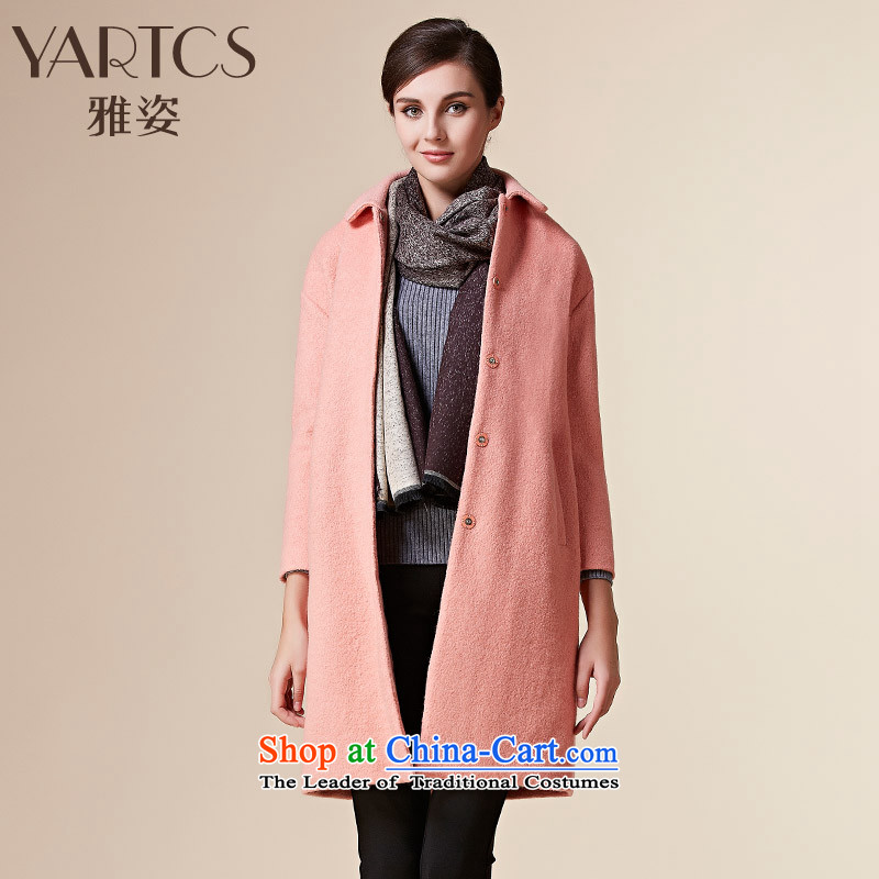 Large hazel women Fleece Jacket a wool coat 2015 winter clothing new pink燲L