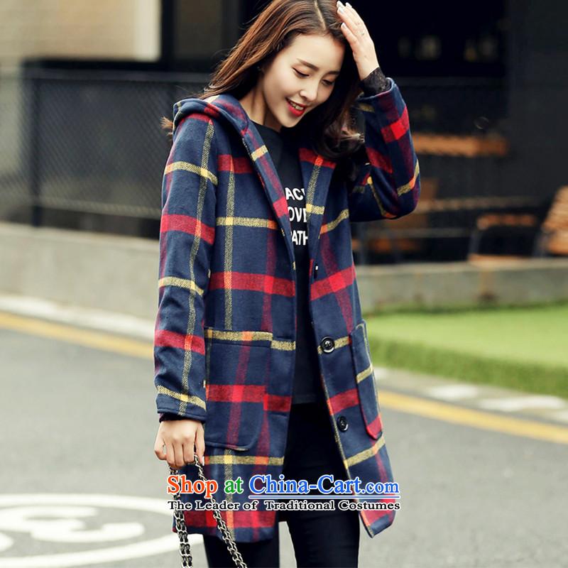 Wooden Geun-hye in long cap grid gross? jacket 769 Orange green gridL_165_88a_