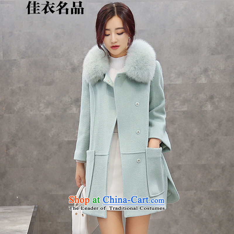 Better, Yi 2015 winter clothing new Korean girl in gross? jacket long Sau San Nagymaros gross for a wool coat聽W8577聽light green聽M
