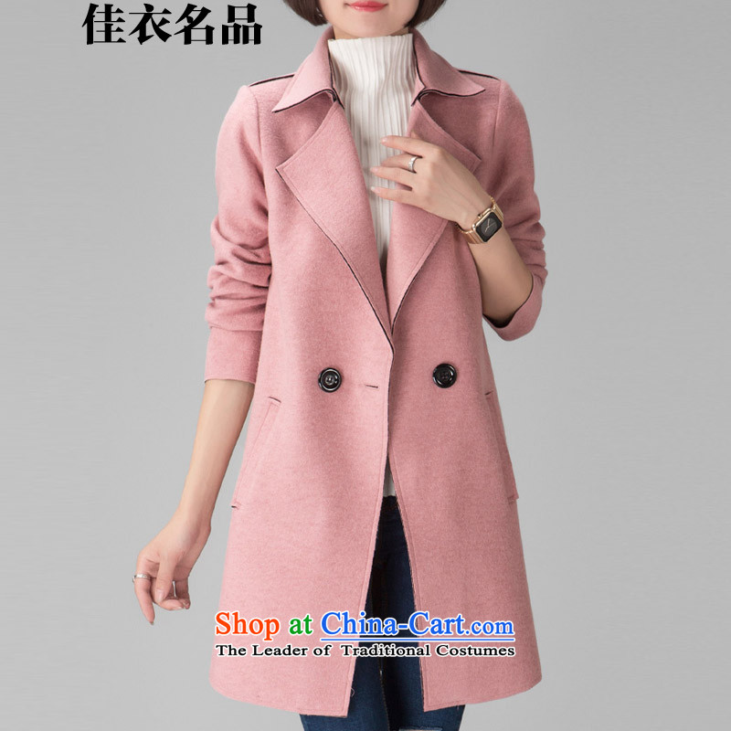 Better, Yi Girls jacket? gross long聽2015 autumn and winter new Korean Sau San a wool coat double-WOMEN'S JACKET聽W8586聽pink聽M