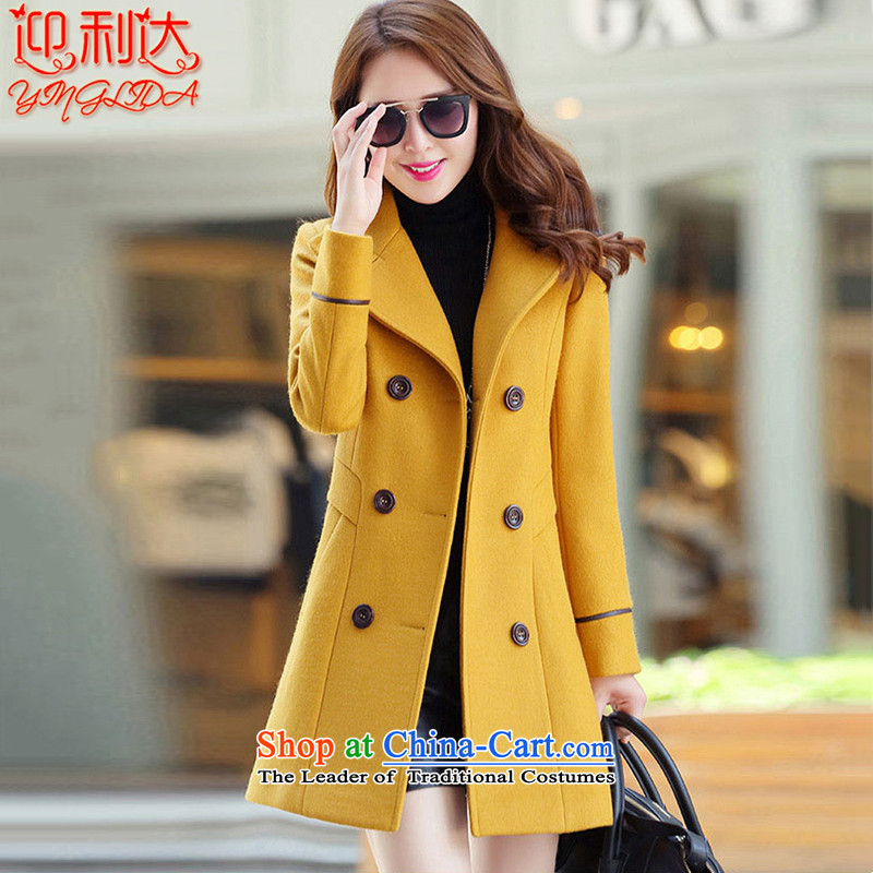 Welcome to the 2015 Winter new Korean version in Sau San long large double-a wool coat female Yellow XL
