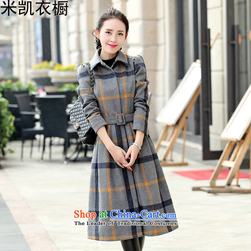 Mikai wardrobe 2015 autumn and winter New Sau San video thin temperament long-sleeved thick box long coats gross? M Gray