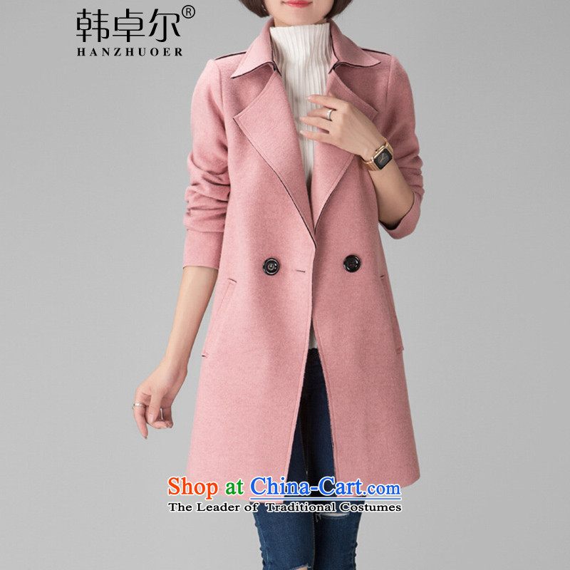 Korea's� 2015 autumn and winter new Korean Sau San a wool coat double-Women's jacket X4089 pink�L