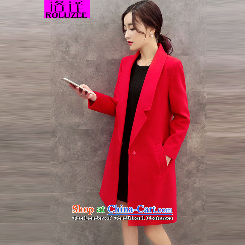 Lozet�15 autumn and winter new women's stylish Korean temperament lapel in Sau San long double-side Gross Gross Jacket coat?? a red plus cotton燲L
