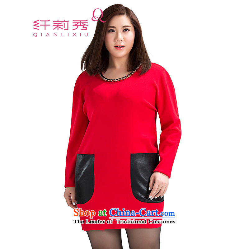 The former Yugoslavia Li Sau 2015 Fall/Winter Collections new larger female thick MM chain decorated PU stitching long-sleeved dresses 5XL 5003 Red