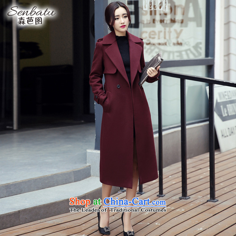 Sen and gross figure? 2015 Autumn load female Coat new Korean version of a wool coat cloak Sau San? 0123 deep red cloak M