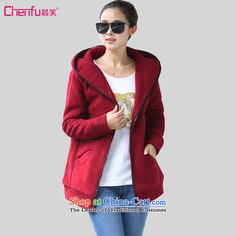 Morning to 2015 autumn and winter new Korean version of large numbers of female add extra thick inner pot gross lint-free, long cardigan jacket Sau San video thin adjustable hood leisure sweater wine red4XL RECOMMENDATIONS 150 - 160131 catty