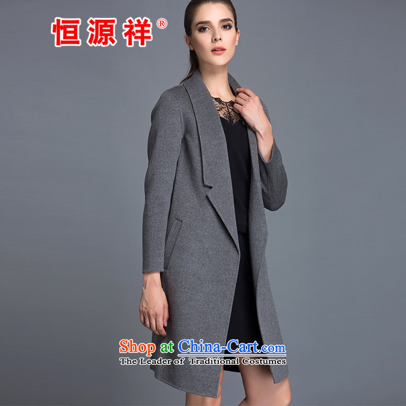 Hengyuan Cheung Women 100_ Pure Wool double-side COAT 2015 autumn and winter Ms. New Version won long gross? jacket dark gray M.