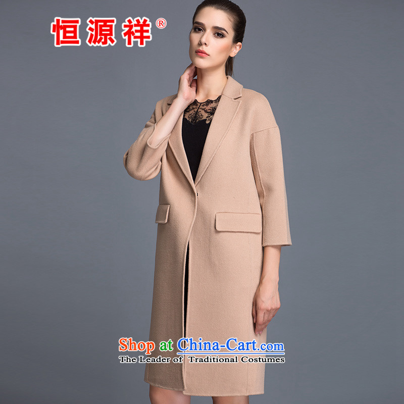 Hengyuan Cheung Women�0_ Pure Wool double-side COAT 2015 autumn and winter Ms. New Version won long gross and light jacket?燬.