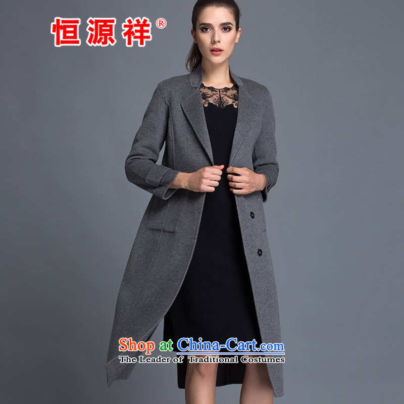Hengyuan Cheung Women 100_ Pure Wool double-side COAT 2015 autumn and winter Ms. New Version won long gross gray jacket? S.