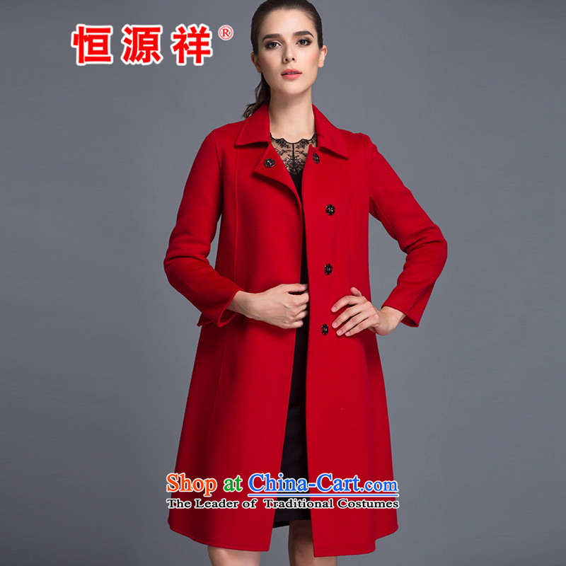 Hengyuan Cheung Women 100_ Pure Wool double-side COAT 2015 autumn and winter Ms. New Version won long gross red jacket? M.