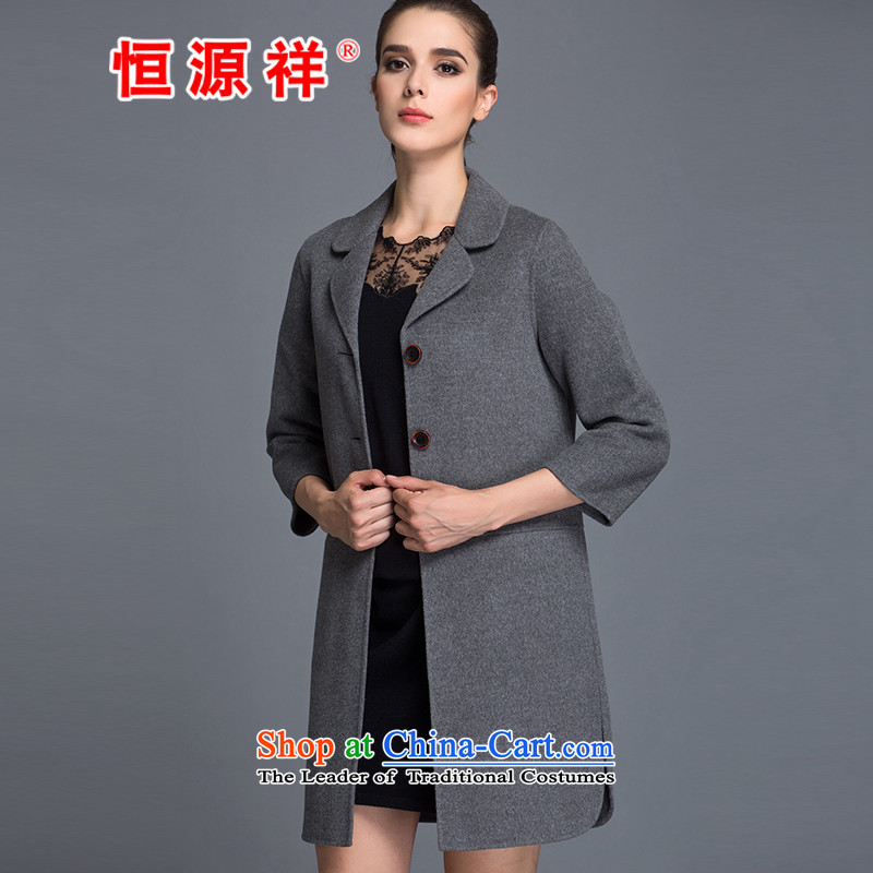 Hengyuan Cheung Women100% Pure Wool double-side COAT 2015 autumn and winter Ms. New Version won long gross gray jacket?M.