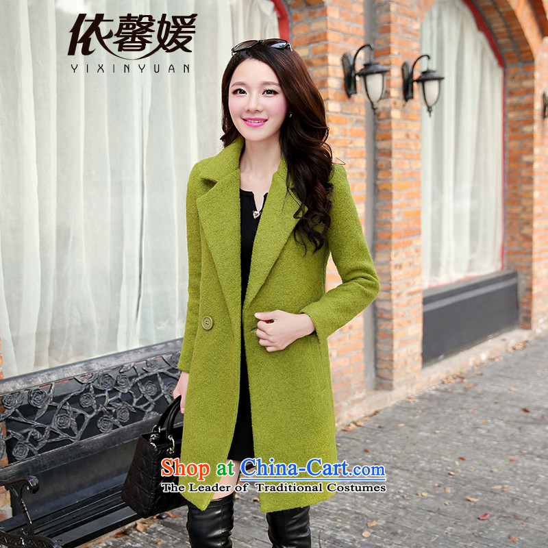 In accordance with General Yuan gross girls coat? long winter 2015 Korean Sau San a green jacket燲XL