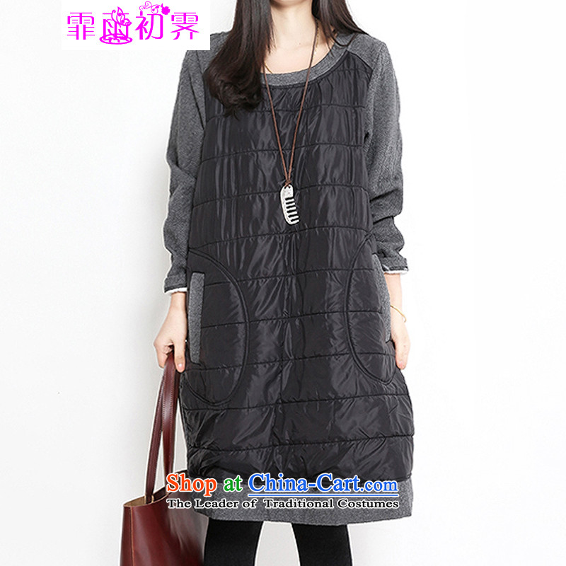 The beginning of the rain. Arpina ji 2015 autumn and winter new Korean version of large numbers of ladies round-neck collar clip cotton stitching thick long-sleeved dresses 597 gray XL