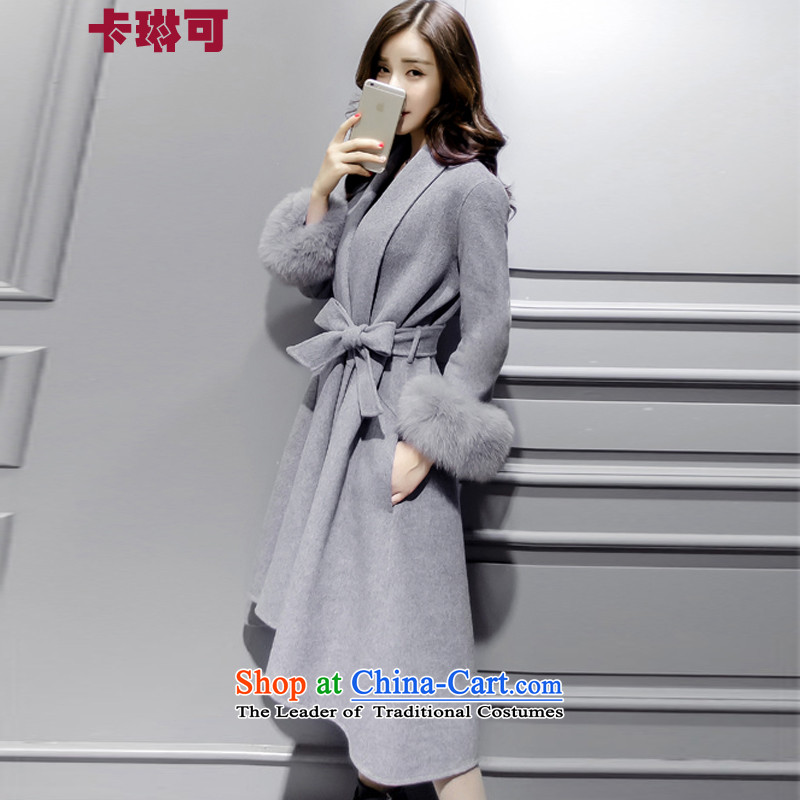 Carleen May 2015 winter clothing new gross jacket female thick in this long Solid Color Korean women's coat Sau San gray M
