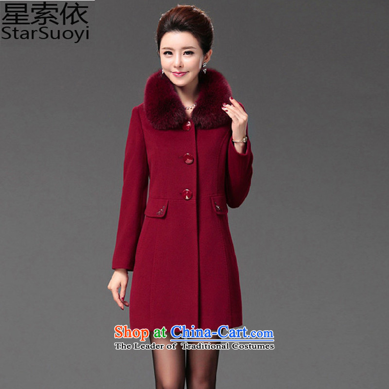 In accordance with the largest number of star women for winter coats of older gross? mother woolen coats that long coat female 035 Red 4XL