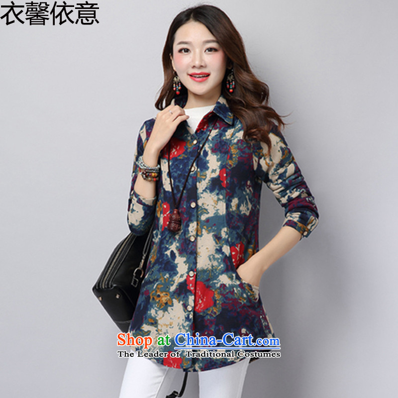 According to the Italian shirts Xin Yi Girls 2015 autumn and winter new stamp in the retro long for women cotton linen cotton shirt Y422 thickened the blue燤