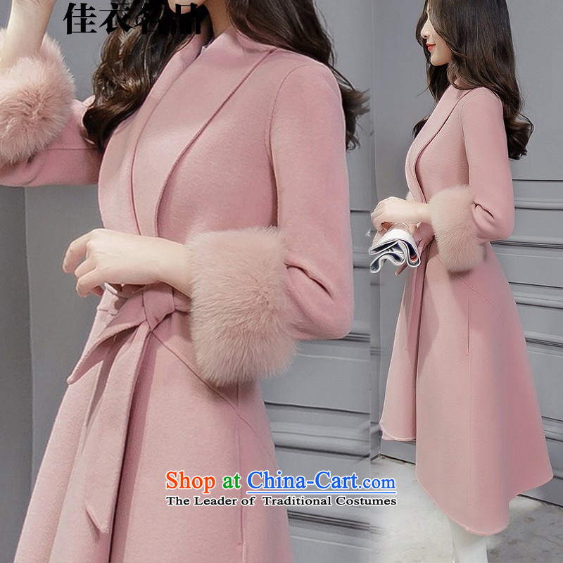 Better, Yi 2015 winter new Korean fashion v-neck autumn and winter coats that? long hair? jacket M8521 Sau San rouge toner S