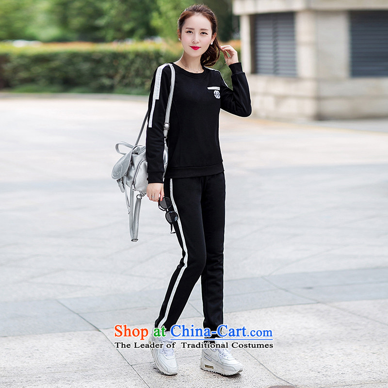 The European sites by 2015 to increase the number of women with thick mm spring and autumn and trendy wild letters of the sportswear video thin thick sister new campaign two piece black燲XXL