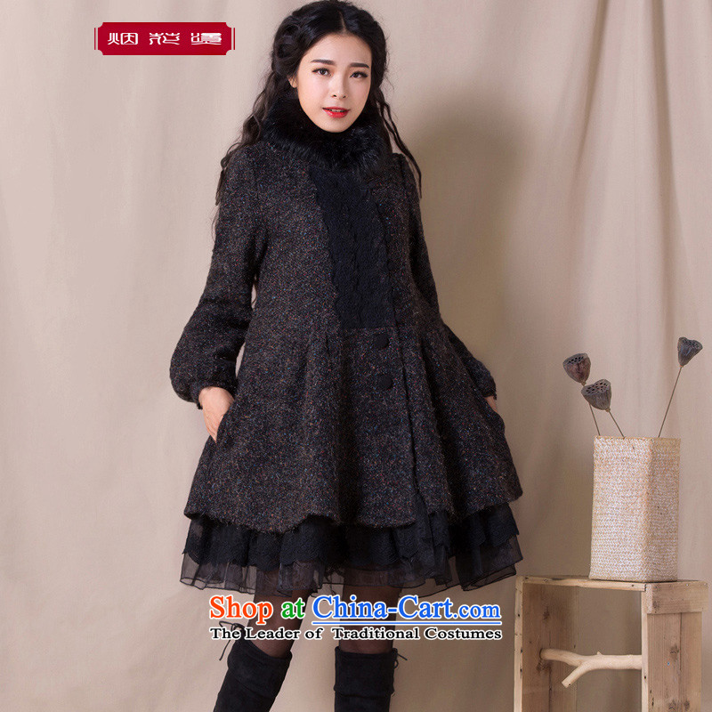 Fireworks Hot Winter 2015 new women's temperament really gross for loose fit jacket coat gross? the cloud to black M pre-sale 15 Days