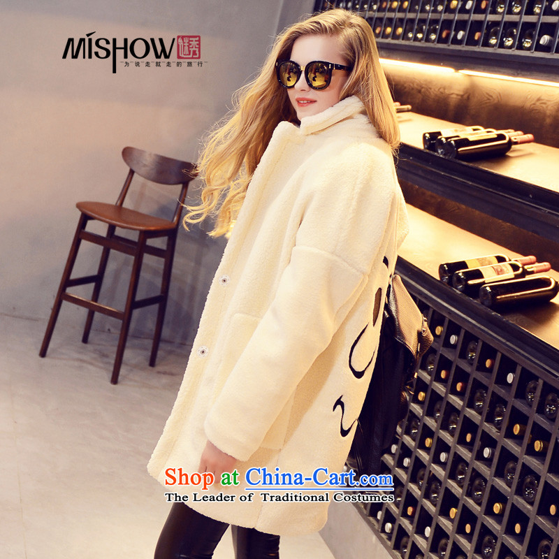 Use Show 2015 winter clothing new product version won a solid color coats that long, long-sleeved jacket is relaxd temperament female m White are code