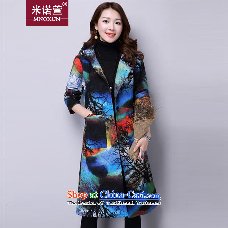 Mineau Xuan by 2015 autumn and winter new thick cotton with cap long-sleeved jacket?K865?BLUE?L