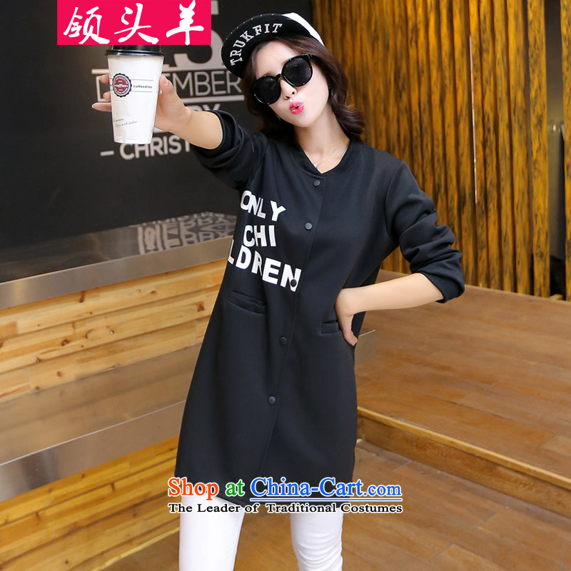 Leader in  2015 autumn and winter new to increase women's thick MM200 code in the catty long loose video thin leisure cardigan female black jacket 3XL recommendations 140-160 characters catty
